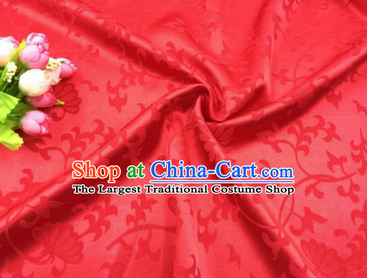Chinese Traditional Apparel Fabric Qipao Red Brocade Classical Pattern Design Silk Material Satin Drapery