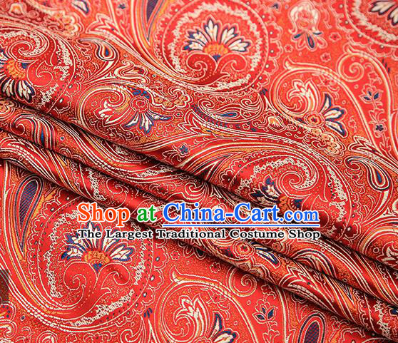 Chinese Traditional Tang Suit Red Brocade Fabric Classical Pattern Design Material Satin Drapery