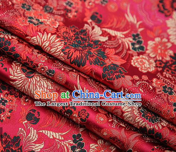 Chinese Traditional Tang Suit Wine Red Brocade Fabric Classical Chrysanthemum Pattern Design Material Satin Drapery