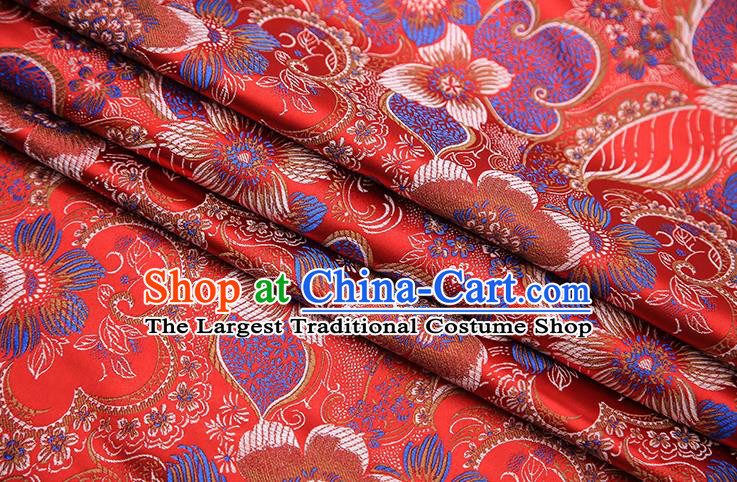 Traditional Chinese Tang Suit Red Brocade Fabric Classical Pattern Design Material Satin Drapery
