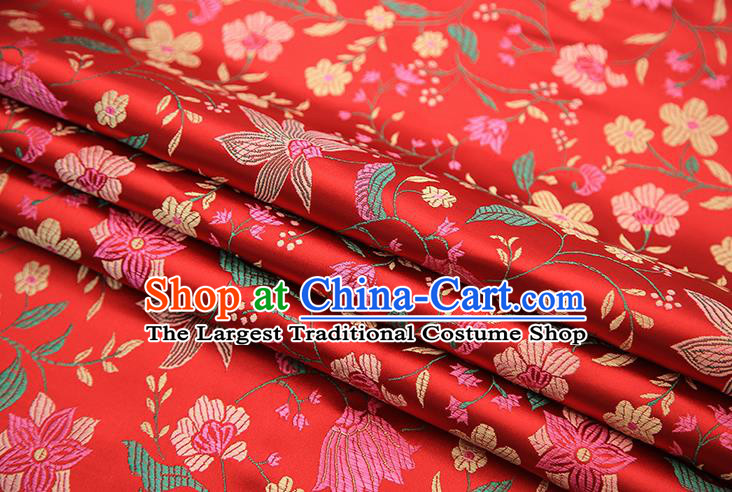 Traditional Chinese Red Satin Tang Suit Brocade Fabric Classical Flowers Pattern Design Silk Material Drapery