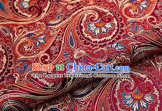 Chinese Traditional Satin Classical Loquat Flower Pattern Design Wine Red Brocade Fabric Tang Suit Material Drapery