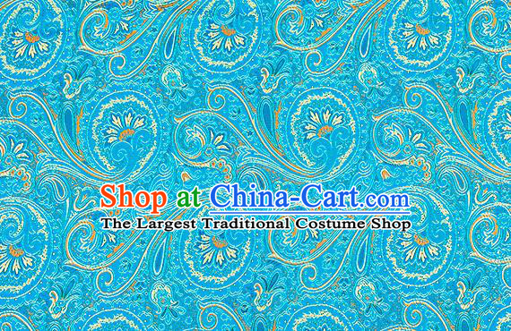 Chinese Traditional Satin Classical Loquat Flower Pattern Design Blue Brocade Fabric Tang Suit Material Drapery