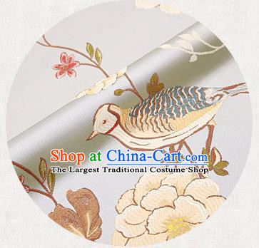 Embroidery Birds Light Blue Brocade Chinese Traditional Garment Fabric Satin Cushion Material Drapery