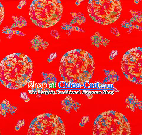 Top Grade Classical Dragons Pattern Red Nanjing Brocade Chinese Traditional Garment Fabric Tang Suit Satin Material Drapery