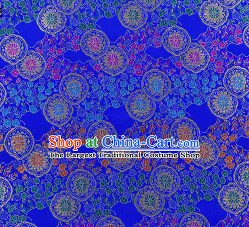 Top Grade Classical Copper Flower Pattern Royalblue Nanjing Brocade Chinese Traditional Garment Fabric Tang Suit Satin Material Drapery