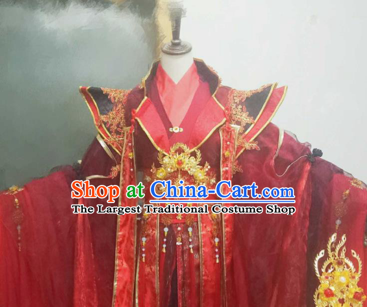 Chinese Ancient Cosplay Wedding Costumes Traditional Princess Embroidered Red Hanfu Dress and Headpiece Complete Set