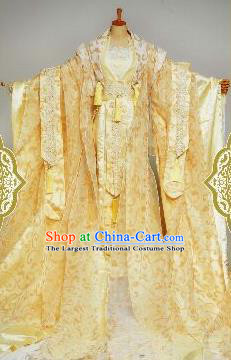 Chinese Ancient Imperial Consort Golden Costumes Traditional Cosplay Peri Embroidered Hanfu Dress for Women