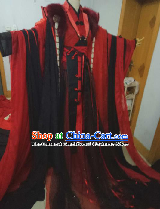 Chinese Ancient Cosplay Swordsman Red Costumes Traditional Han Dynasty Nobility Childe Clothing for Men