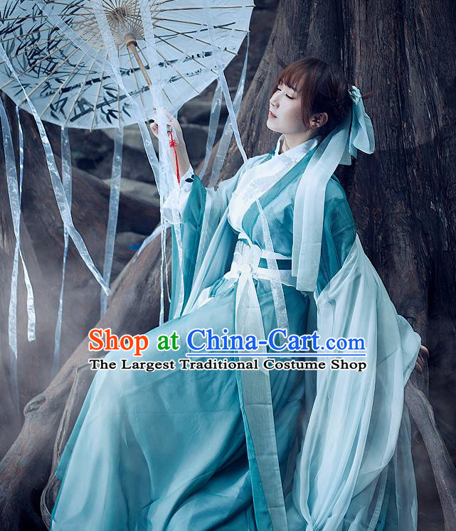 Traditional Chinese Ancient Swordswoman Costumes Jin Dynasty Nobility Lady Hanfu Dress for Women