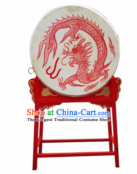 Chinese Traditional Lion Dance Drums Folk Dance Tupan Printing Dragon Cowhide Drum