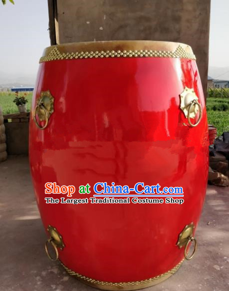 Chinese Traditional Handmade Drums Folk Dance Red Cowhide Drums