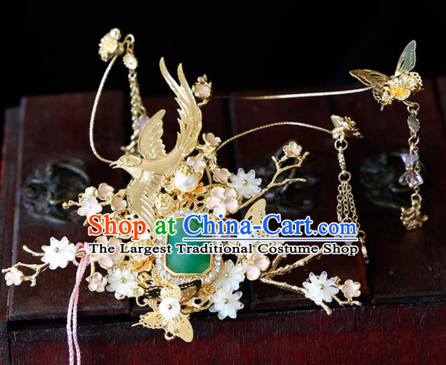 Chinese Traditional Xiuhe Suit Jade Hairpins Ancient Bride Handmade Hair Accessories for Women