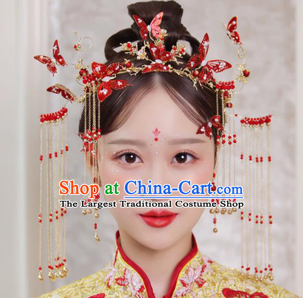 Chinese Traditional Xiuhe Suit Handmade Red Butterfly Phoenix Coronet Ancient Bride Hairpins Hair Accessories for Women