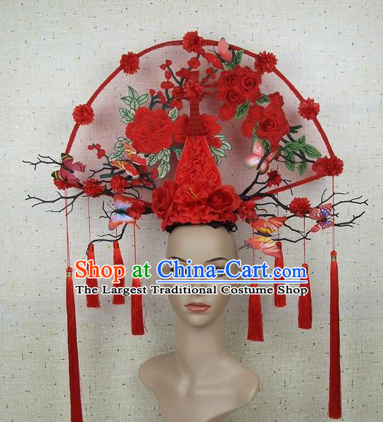 Top Grade Chinese Handmade Lace Headdress Traditional Red Roses Lute Hair Accessories for Women