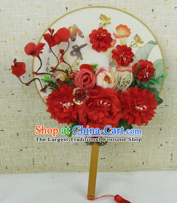 Chinese Traditional Wedding Round Fans Ancient Bride Handmade Red Flowers Palace Fans for Women