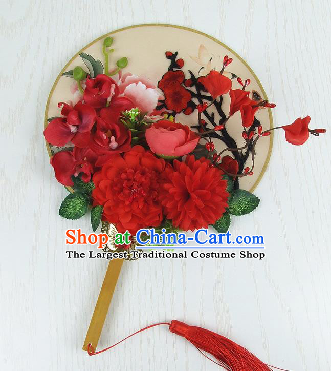 Chinese Traditional Wedding Round Fans Ancient Bride Handmade Red Peony Embroidered Palace Fans for Women