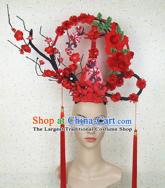 Top Grade Handmade Chinese Red Lute Roses Hair Clasp Headdress Traditional Hair Accessories for Women