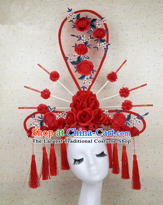 Top Grade Handmade Chinese Red Roses Palace Hair Clasp Headdress Traditional Hair Accessories for Women