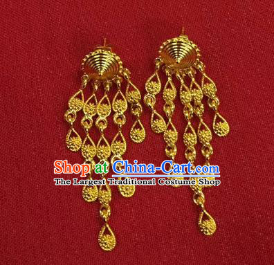 Chinese Ethnic Folk Dance Accessories Traditional Dai Nationality Golden Tassel Earrings for Women