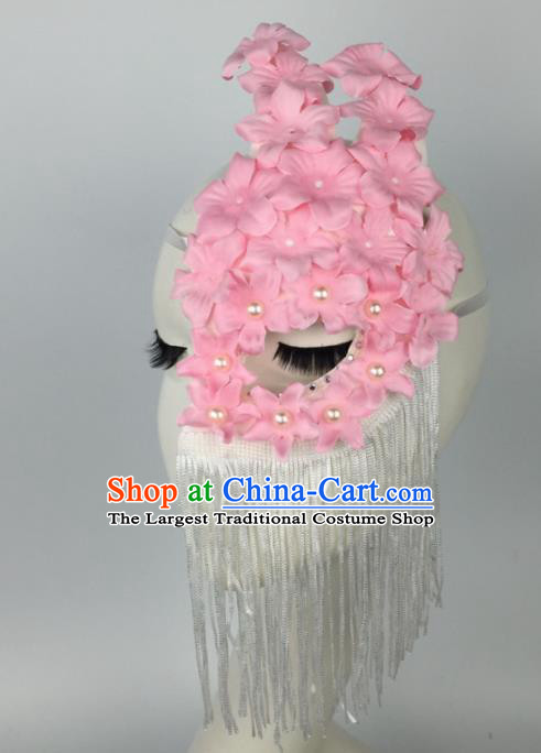 Halloween Exaggerated Accessories Catwalks Pink Flowers Tassel Masks for Women