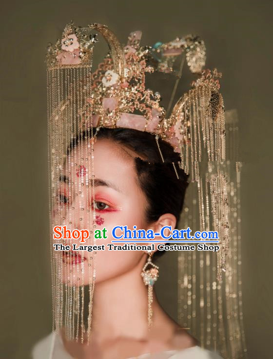Chinese Traditional Ancient Bride Headdress Palace Exaggerated Phoenix Coronet Hair Accessories for Women