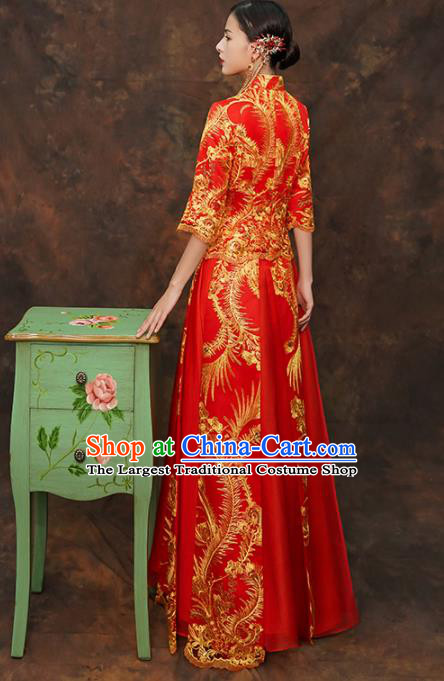 acecd4985d Chinese Traditional Wedding Costumes Ancient Bride Embroidered Red Xiuhe  Suits for Women