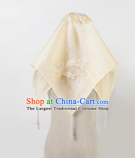 Chinese Traditional Wedding Head Cover Ancient Bride Embroidered Kerchief for Women