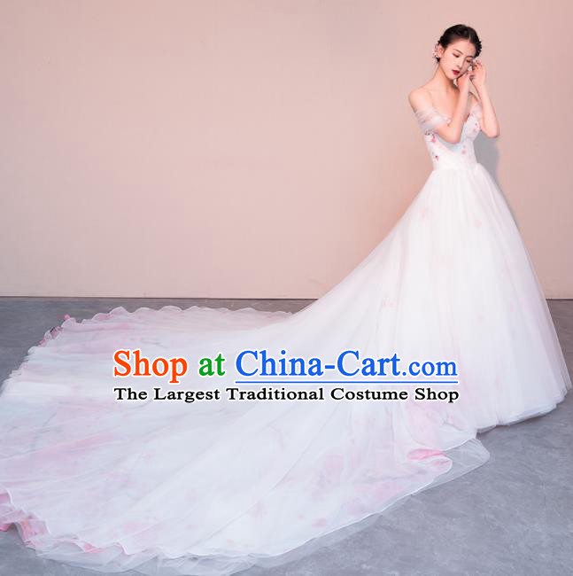 Top Grade Customized Wedding Dress Bride Trailing Full Dress for Women