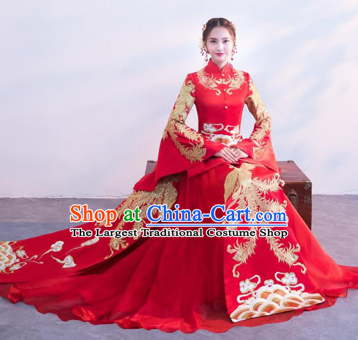 Chinese Traditional Embroidered Wedding Costumes Red Xiuhe Suits Ancient Bride Dress for Women