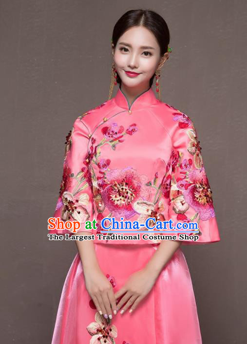 a0c53571ab Chinese Traditional Embroidered Wedding Costumes Pink Xiuhe Suits Ancient  Bride Dress for Women