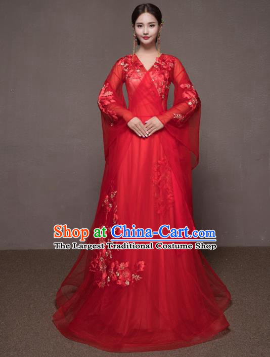 Chinese Traditional Embroidered Wedding Costumes Ancient Bride Red Veil Dress for Women