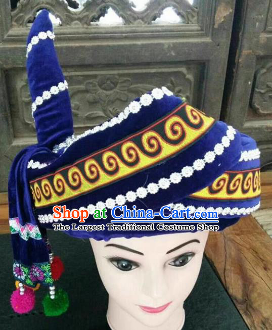 Chinese Traditional National Hat Ethnic Yi Nationality Royalblue Hat for Men