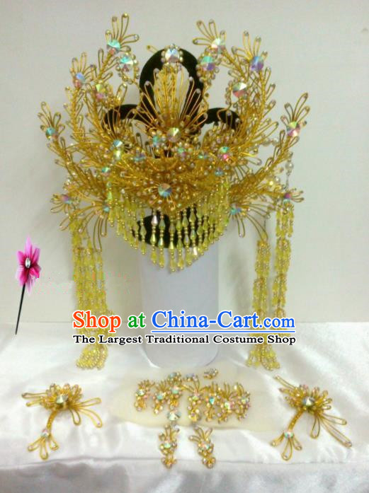 Chinese Classical Beijing Opera Princess Hair Accessories Traditional Ancient Golden Phoenix Coronet for Women