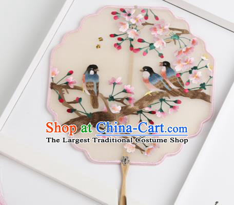 Traditional Chinese Crafts Palace Fans Silk Round Fans Ancient Princess Embroidered Peach Blossom Fan for Women