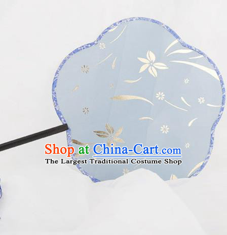 Traditional Chinese Crafts Palace Blue Silk Fans Round Fans Ancient Princess Gilding Fan for Women