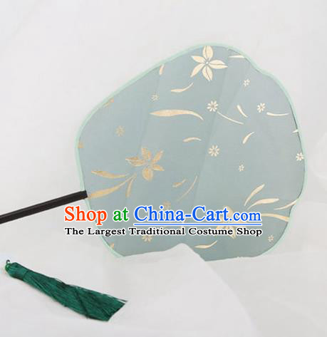 Traditional Chinese Crafts Palace Green Silk Fans Round Fans Ancient Princess Gilding Fan for Women