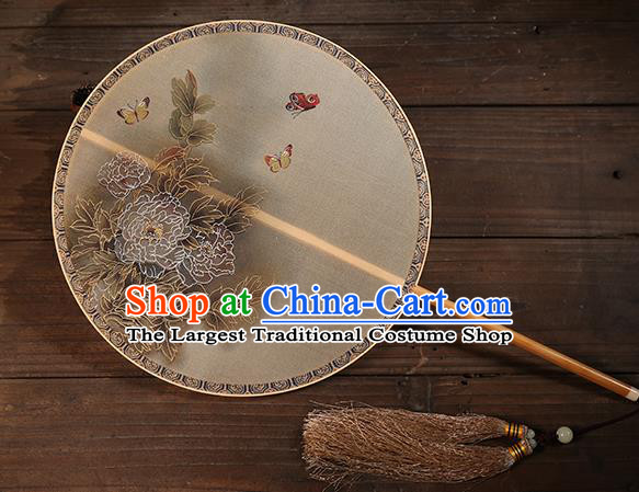 Traditional Chinese Crafts Palace Fans Printing Peony Round Fans Ancient Silk Fan for Women