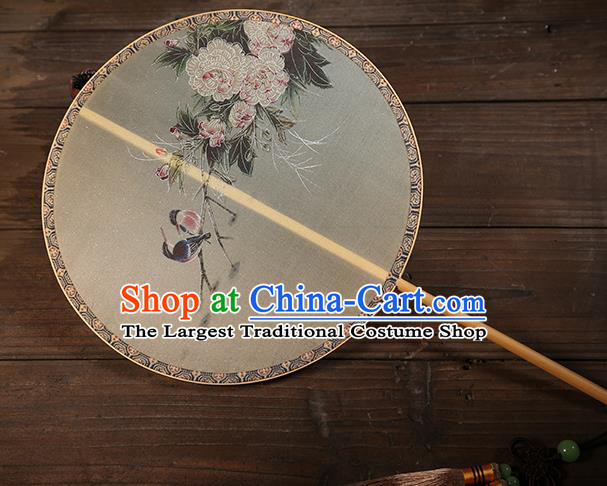 Traditional Chinese Crafts Palace Fans Printing Peony Bird Round Fans Ancient Silk Fan for Women