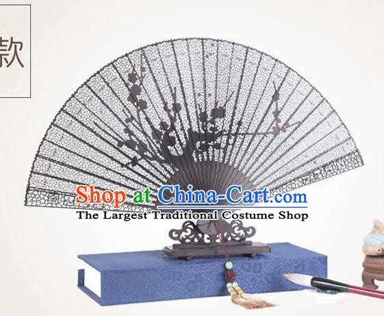 Chinese Traditional Crafts Sandalwood Folding Fans Pierced Plum Blossom Fans Accordion Fan