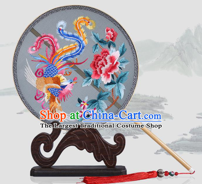 Traditional Chinese Crafts Palace Fans Embroidered Phoenix Peony Round Fans Ancient Silk Fan for Women