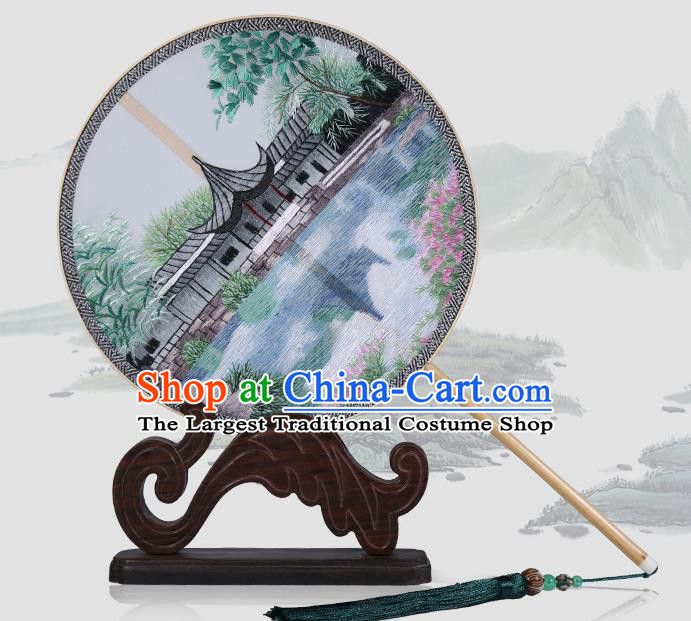 Traditional Chinese Crafts Palace Fans Embroidered Round Fans Ancient Silk Fan for Women