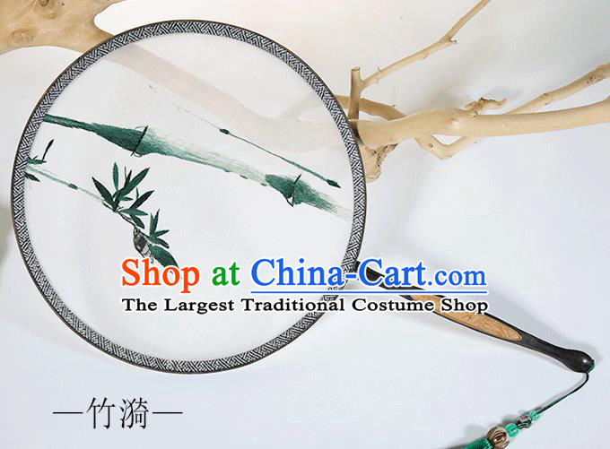 Traditional Chinese Crafts Palace Fans Embroidered Bamboo Round Fans Ancient Silk Fan for Women