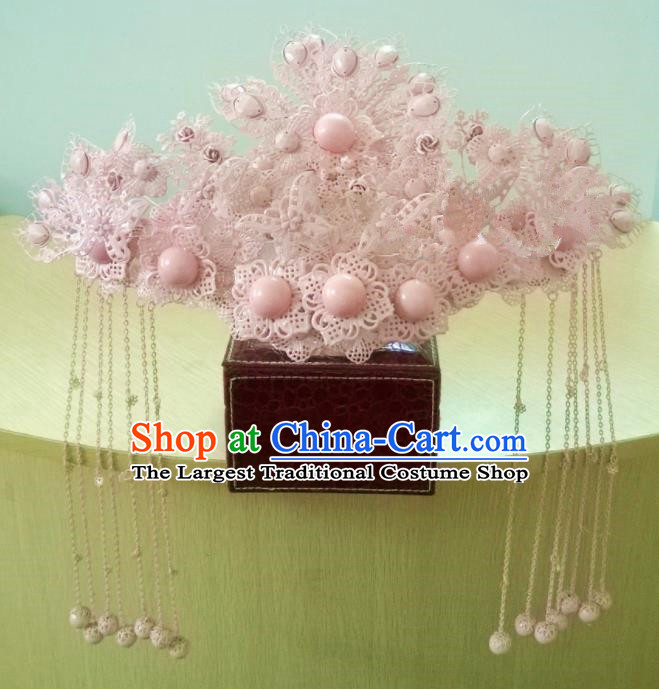 Chinese Classical Wedding Hair Accessories Traditional Ancient Bride Pink Phoenix Coronet for Women