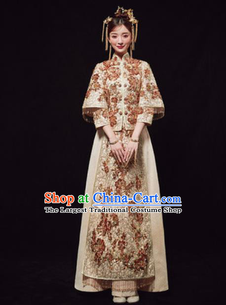 Chinese Traditional Wedding Costumes Embroidered Xiuhe Suits Ancient Bride Dress for Women