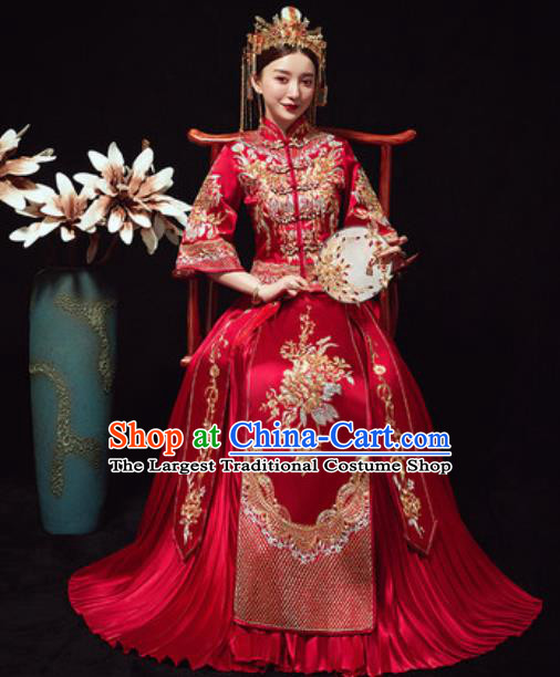 Traditional Chinese Wedding Costumes Embroidered Xiuhe Suits Ancient Bride Dress for Women