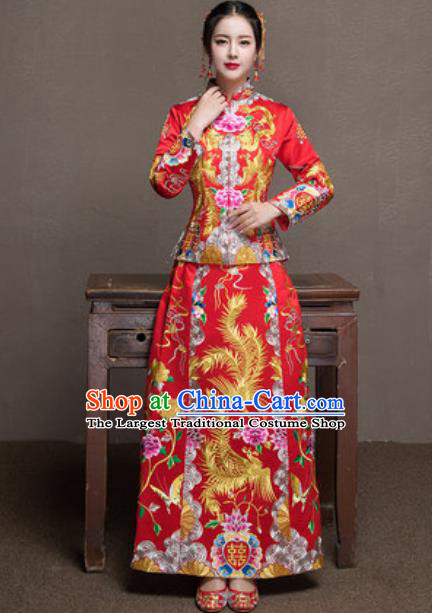 Traditional Chinese Wedding Bride Costumes Ancient Embroidered Phoenix Peony Red Dress for Women