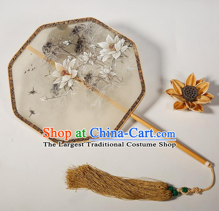 Chinese Traditional Hanfu Palace Fans Painting Lotus Fans Ancient Silk Round Fan for Women