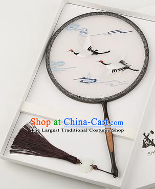 Chinese Traditional Palace Fans Embroidered Cranes Fans Ancient Hanfu Silk Round Fan for Women