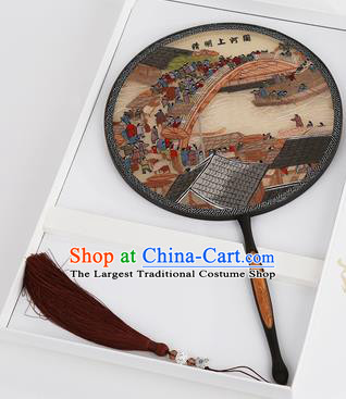 Chinese Traditional Palace Fans Embroidered Round Fans Ancient Hanfu Silk Fan for Women